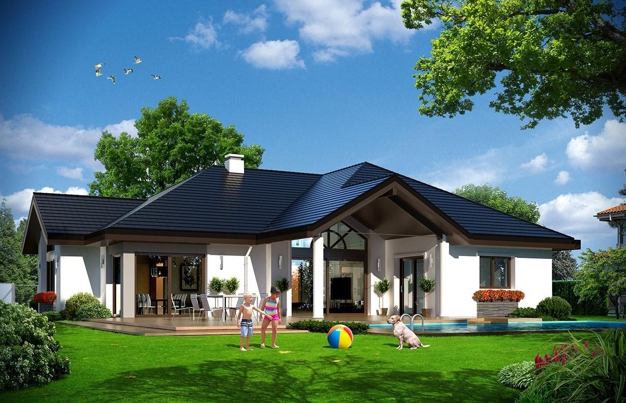Projekt domu Rozłożysty 2 - wizualizacja tylna