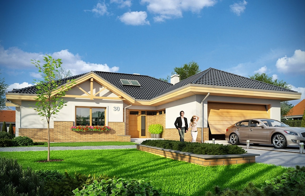 Projekt domu Rozłożysty - wizualizacja frontowa