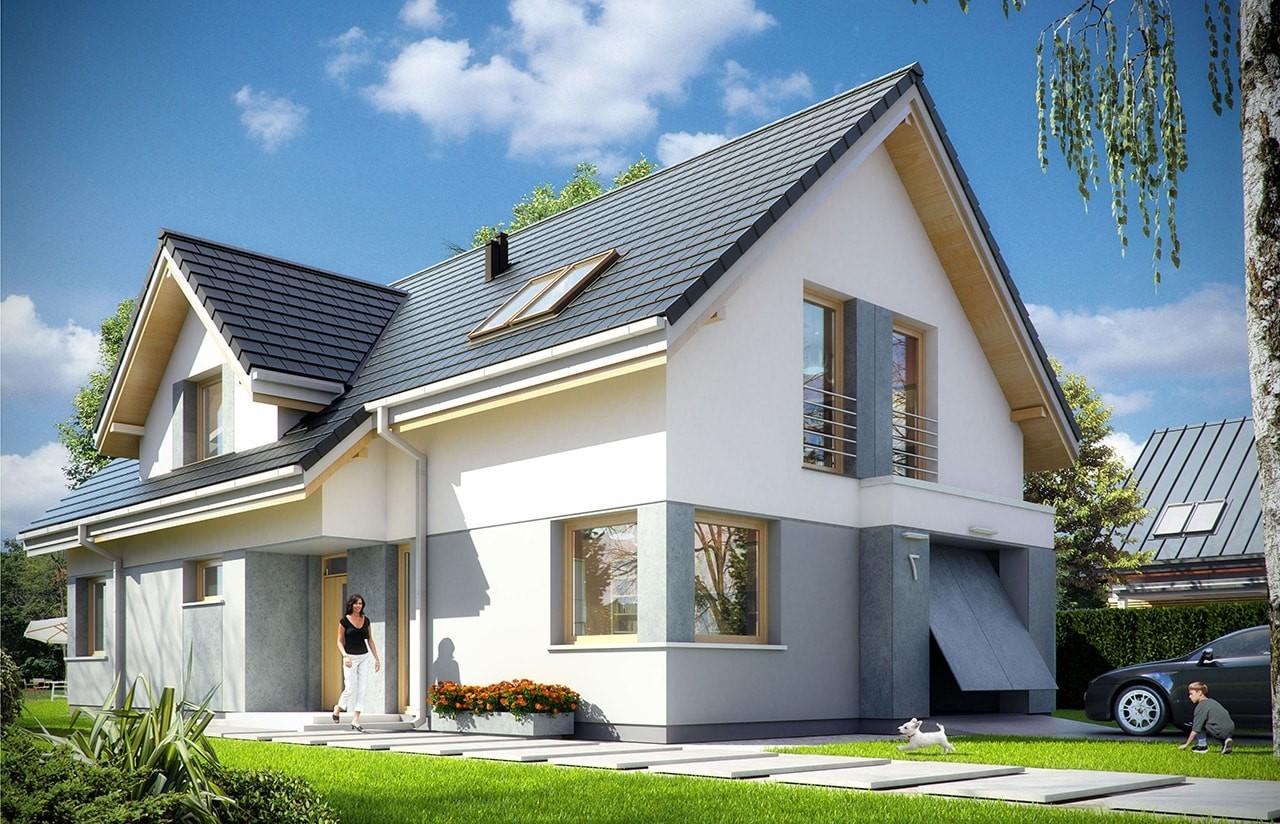 Projekt domu Rozsądny - wizualizacja frontowa odbicie lustrzane