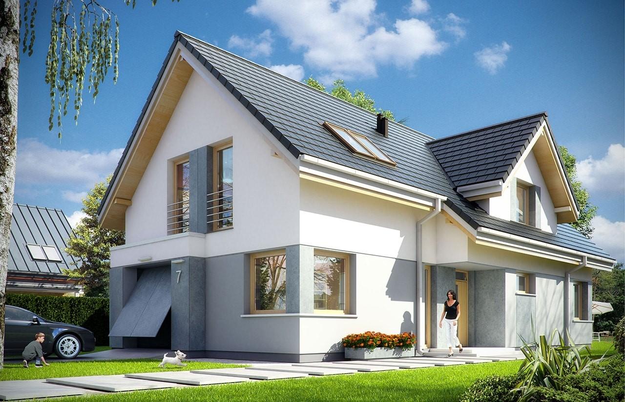 Projekt domu Rozsądny - wizualizacja frontowa
