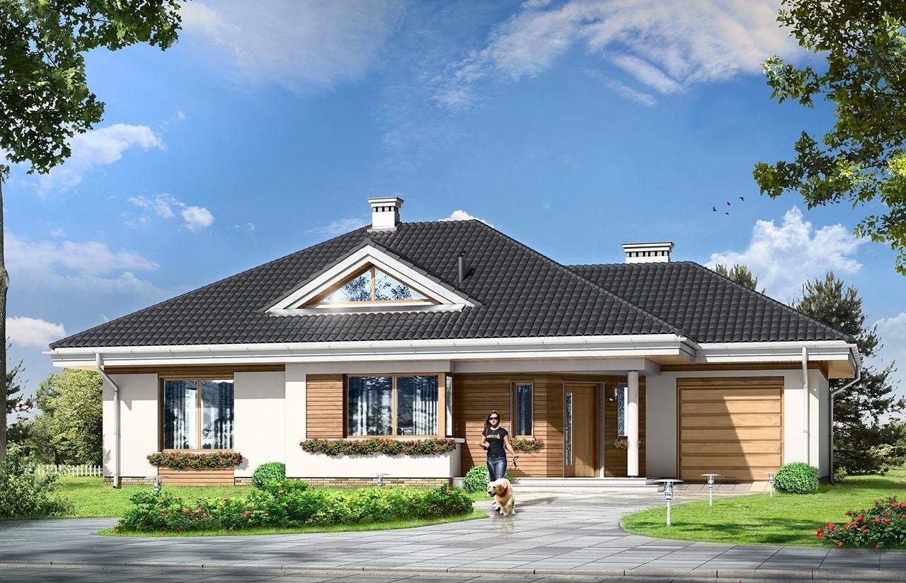 Projekt domu Rozwojowy - wizualizacja frontowa odbicie lustrzane