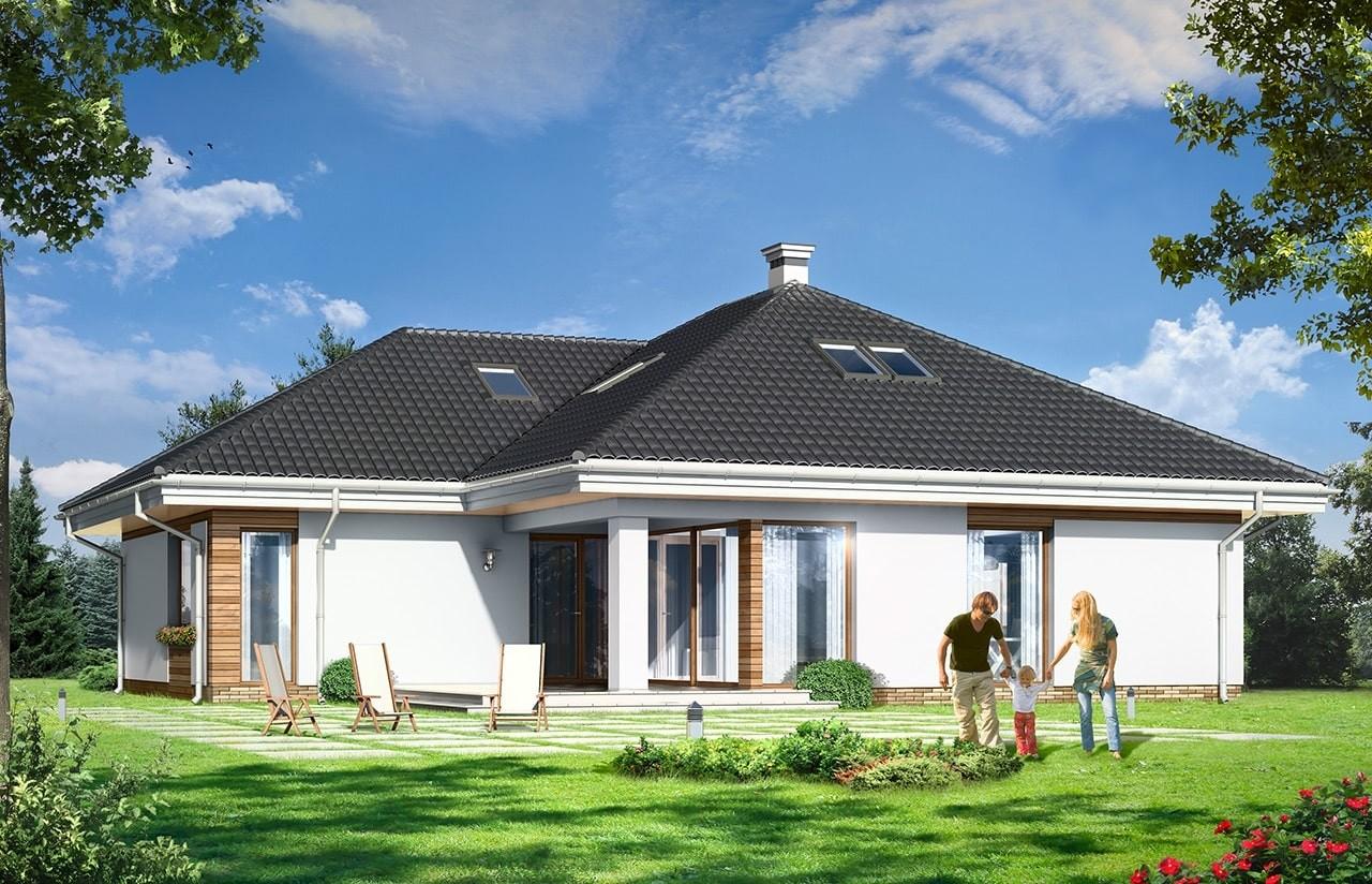 Projekt domu Rozwojowy - wizualizacja tylna odbicie lustrzane