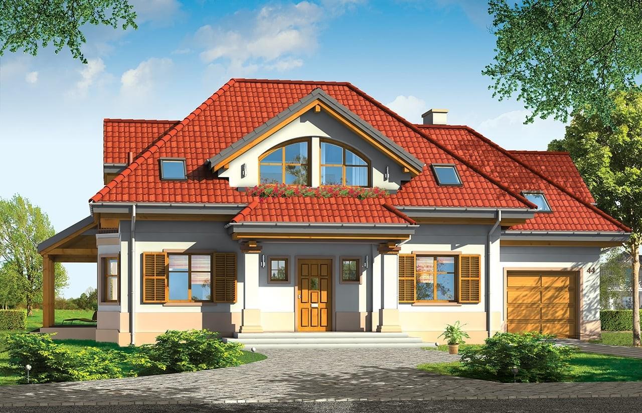 Projekt domu Rubin 2 - wizualizacja frontowa