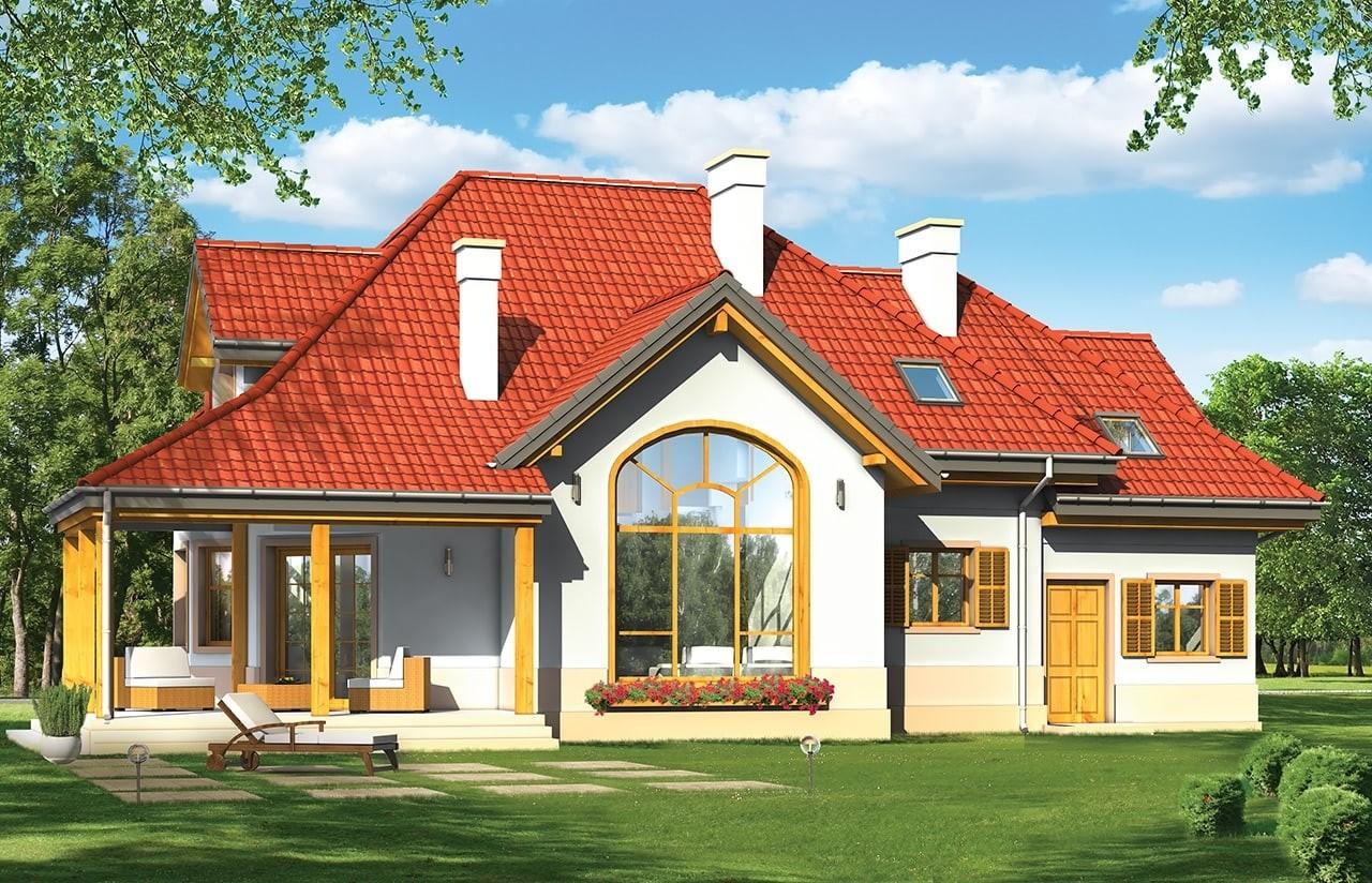 Projekt domu Rubin 2 - wizualizacja tylna odbicie lustrzane