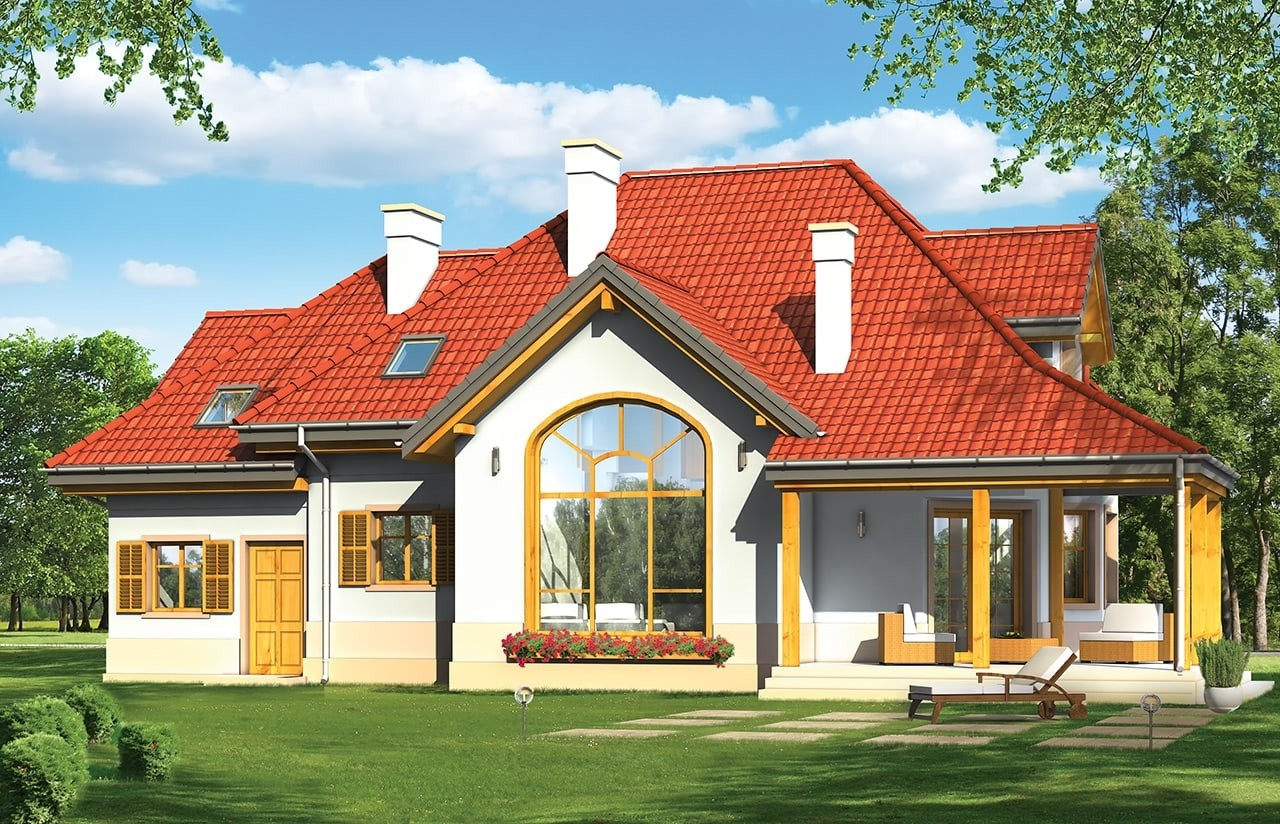 Projekt domu Rubin 2 - wizualizacja tylna