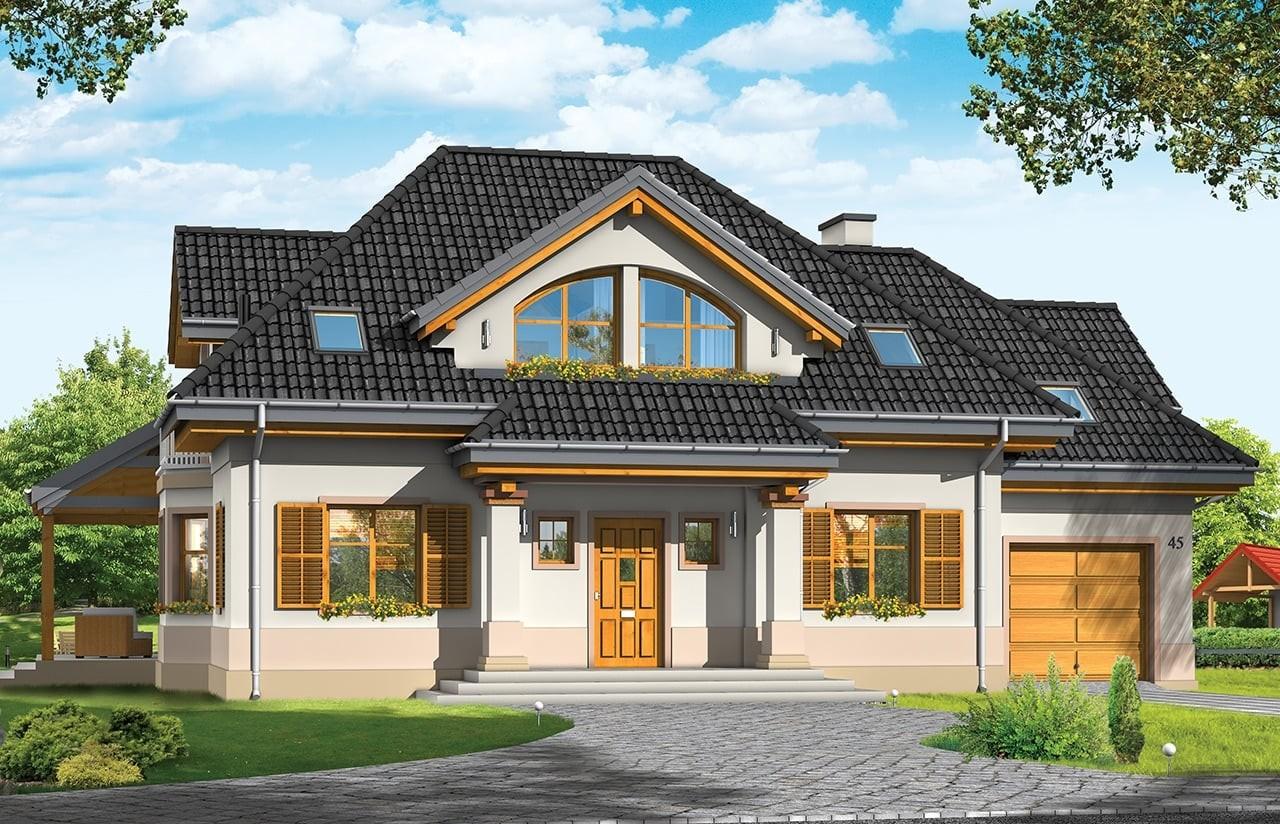 Projekt domu Rubin 3 - wizualizacja frontowa