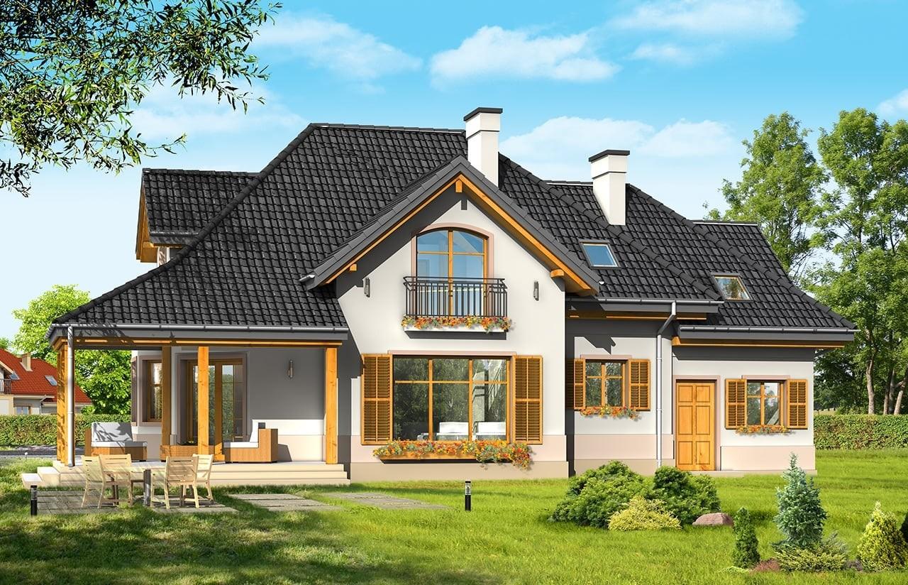 Projekt domu Rubin 3 - wizualizacja tylna odbicie lustrzane