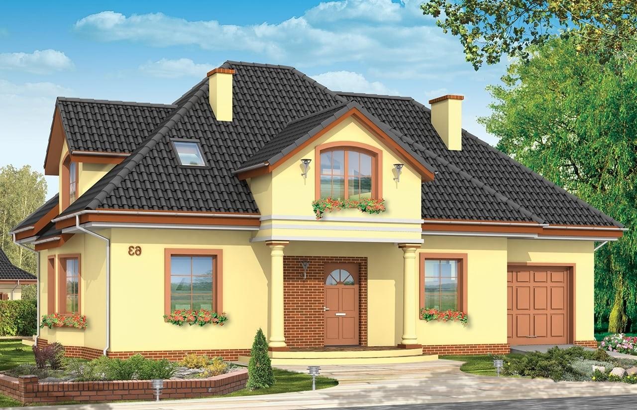 Projekt domu Saga 2 - wizualizacja frontowa odbicie lustrzane