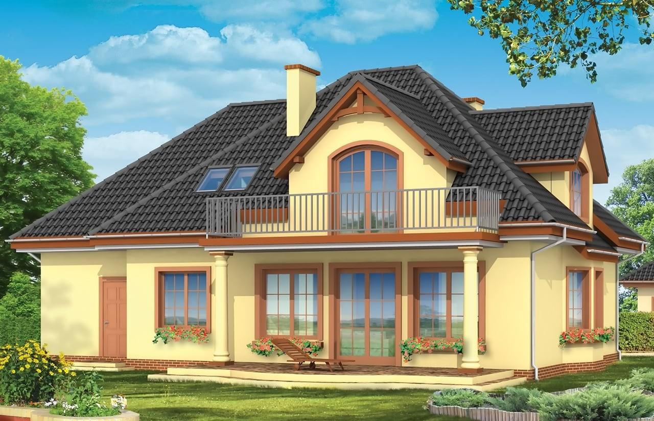 Projekt domu Saga 2 - wizualizacja tylna odbicie lustrzane
