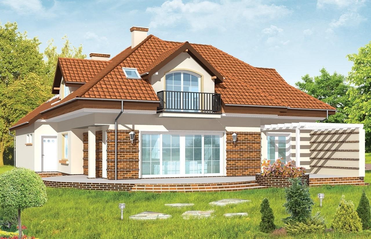 Projekt domu Siedziba - wizualizacja tylna odbicie lustrzane
