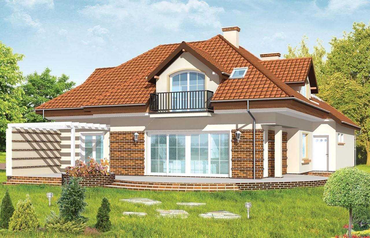Projekt domu Siedziba - wizualizacja tylna