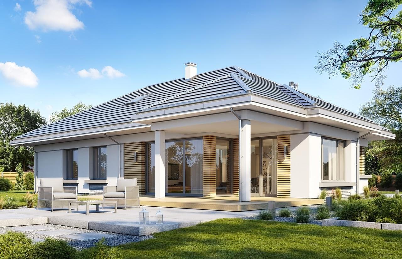 Projekt domu Sielanka - wizualizacja tylna odbicie lustrzane