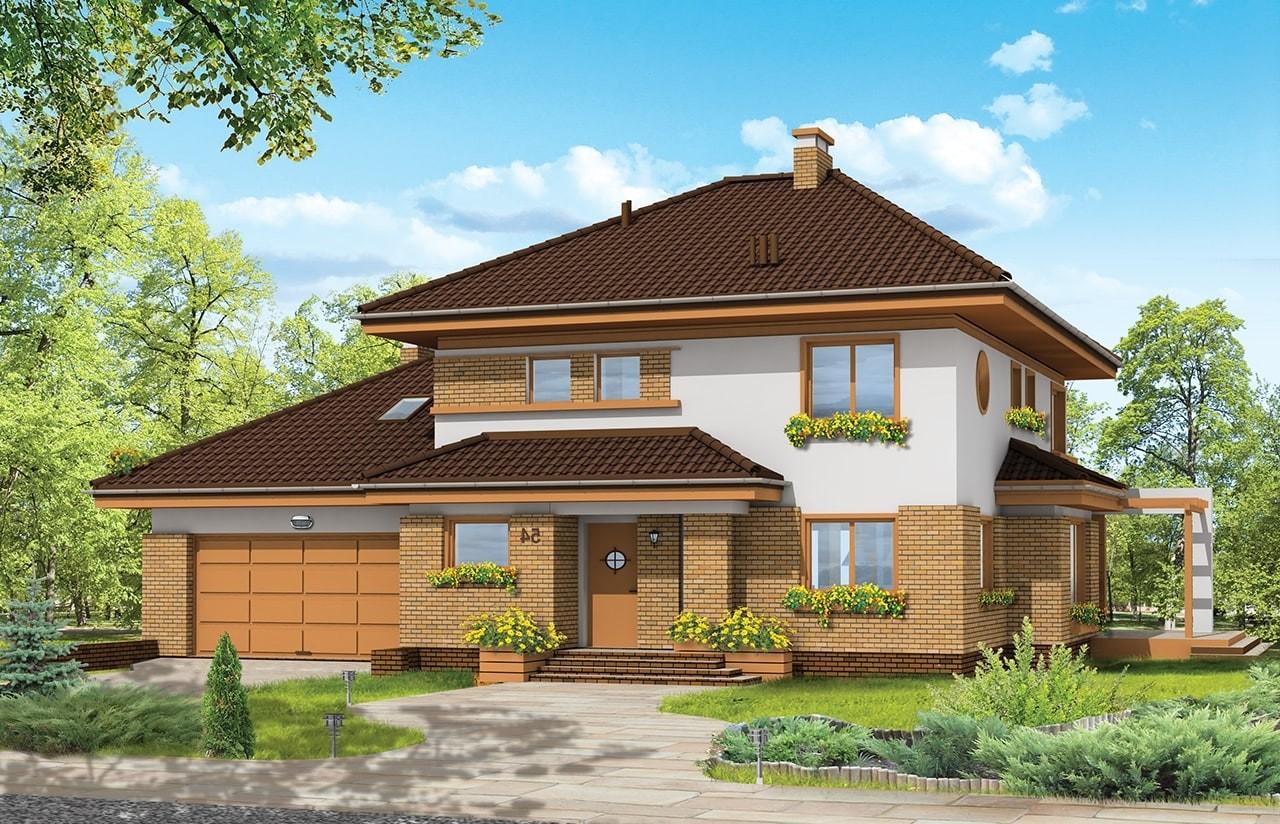 Projekt domu Słodki - wizualizacja frontowa odbicie lustrzane