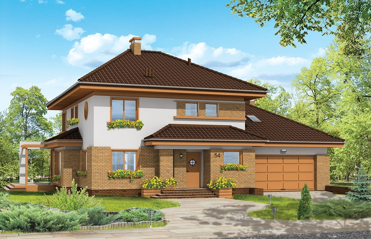 Projekt domu Słodki - wizualizacja frontowa