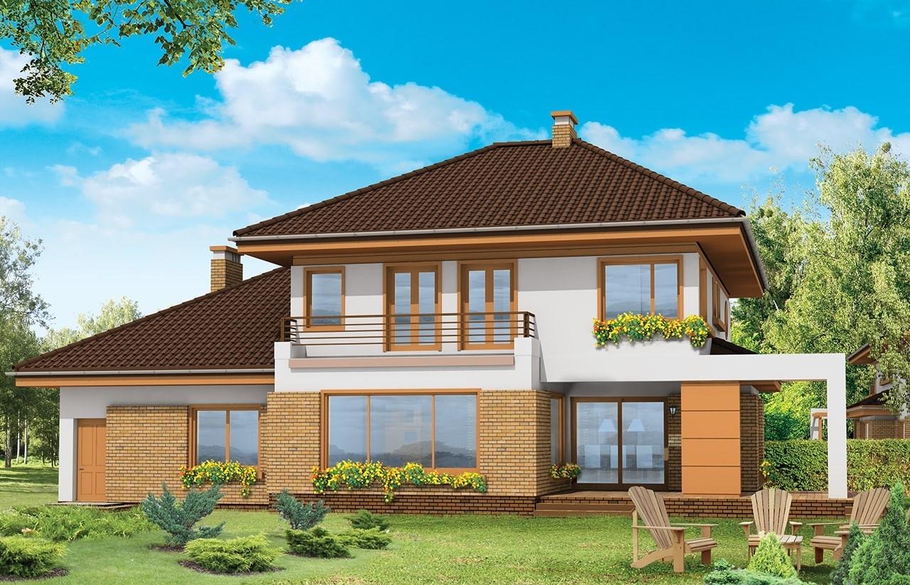 Projekt domu Słodki - wizualizacja tylna
