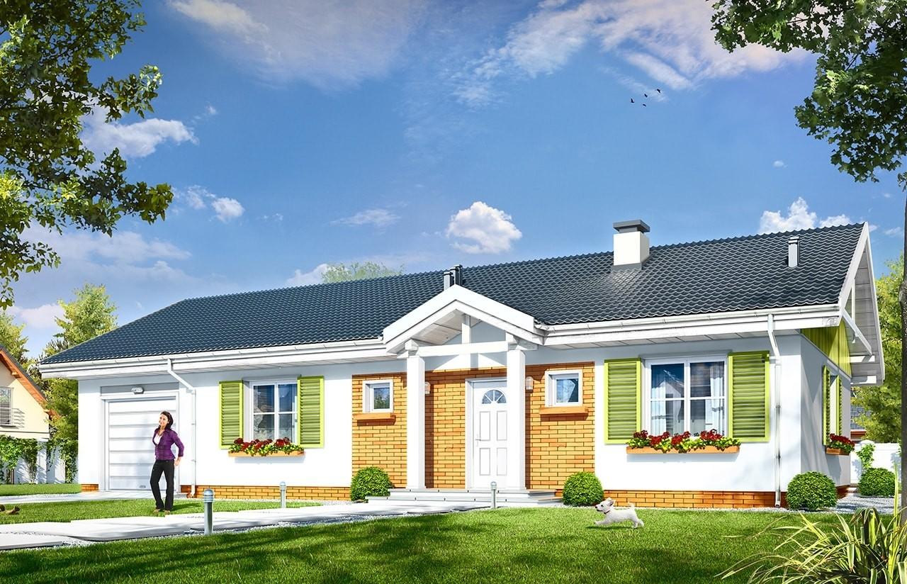 Projekt domu Słoneczny z garażem 2 - wizualizacja frontowa odbicie lustrzane
