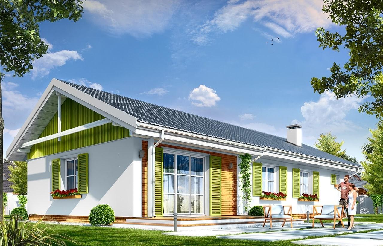 Projekt domu Słoneczny z garażem 2 - wizualizacja tylna odbicie lustrzane