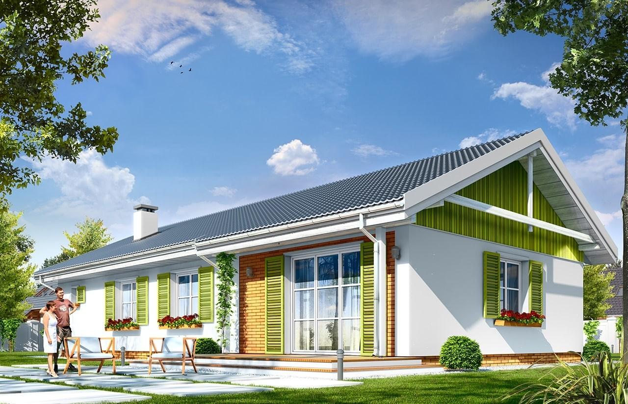 Projekt domu Słoneczny z garażem 2 - wizualizacja tylna