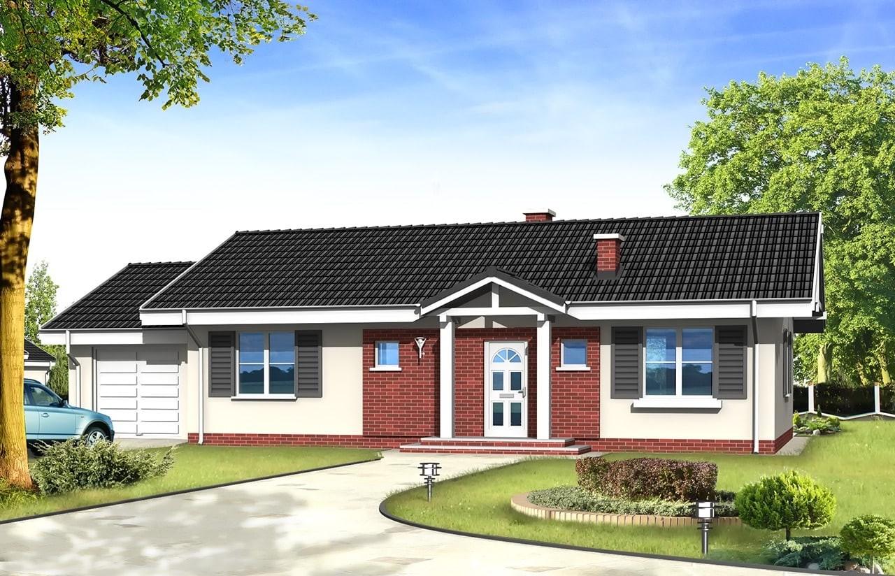 Projekt domu Słoneczny z garażem - wizualizacja frontowa odbicie lustrzane