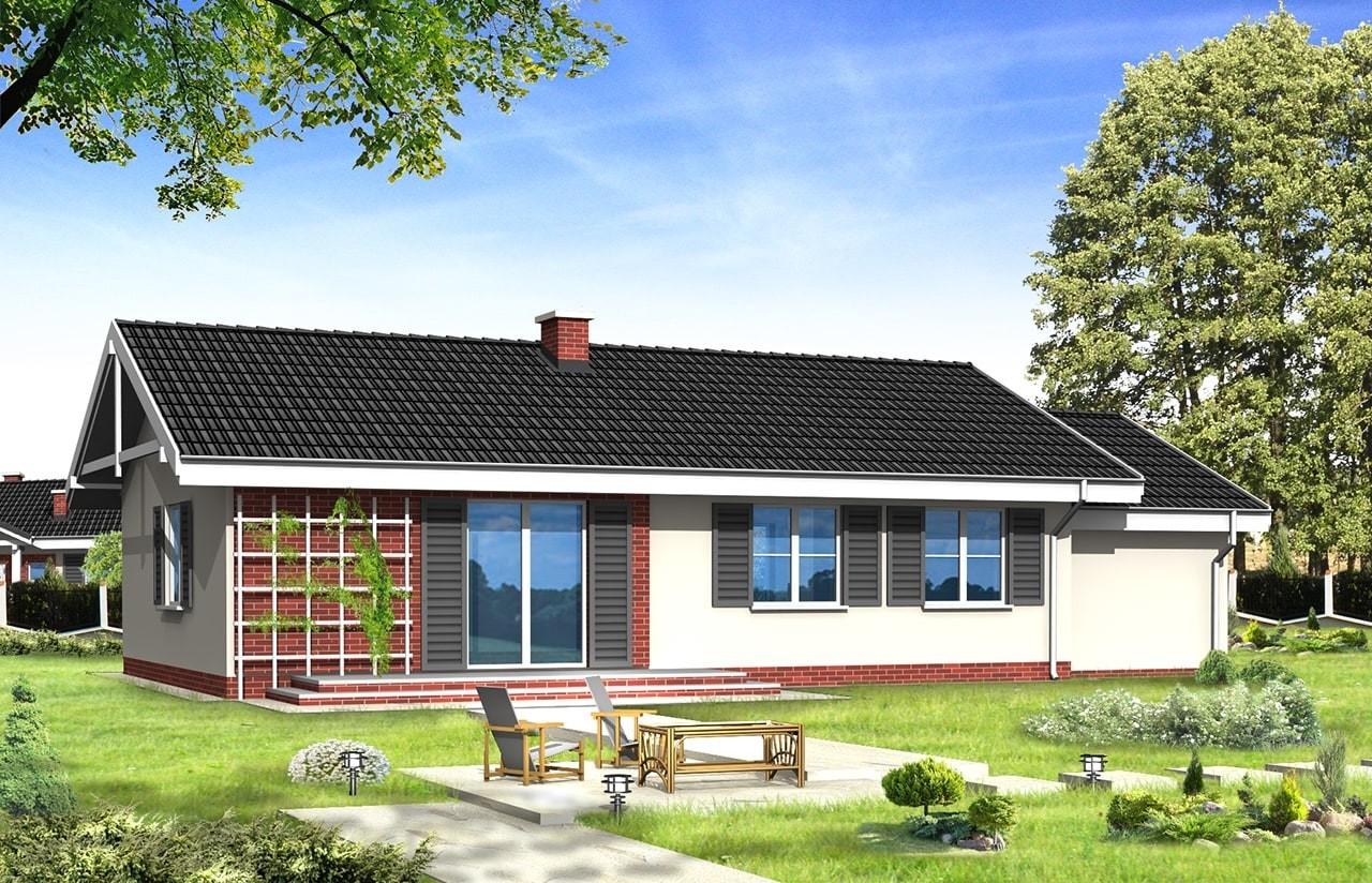 Projekt domu Słoneczny z garażem - wizualizacja tylna odbicie lustrzane