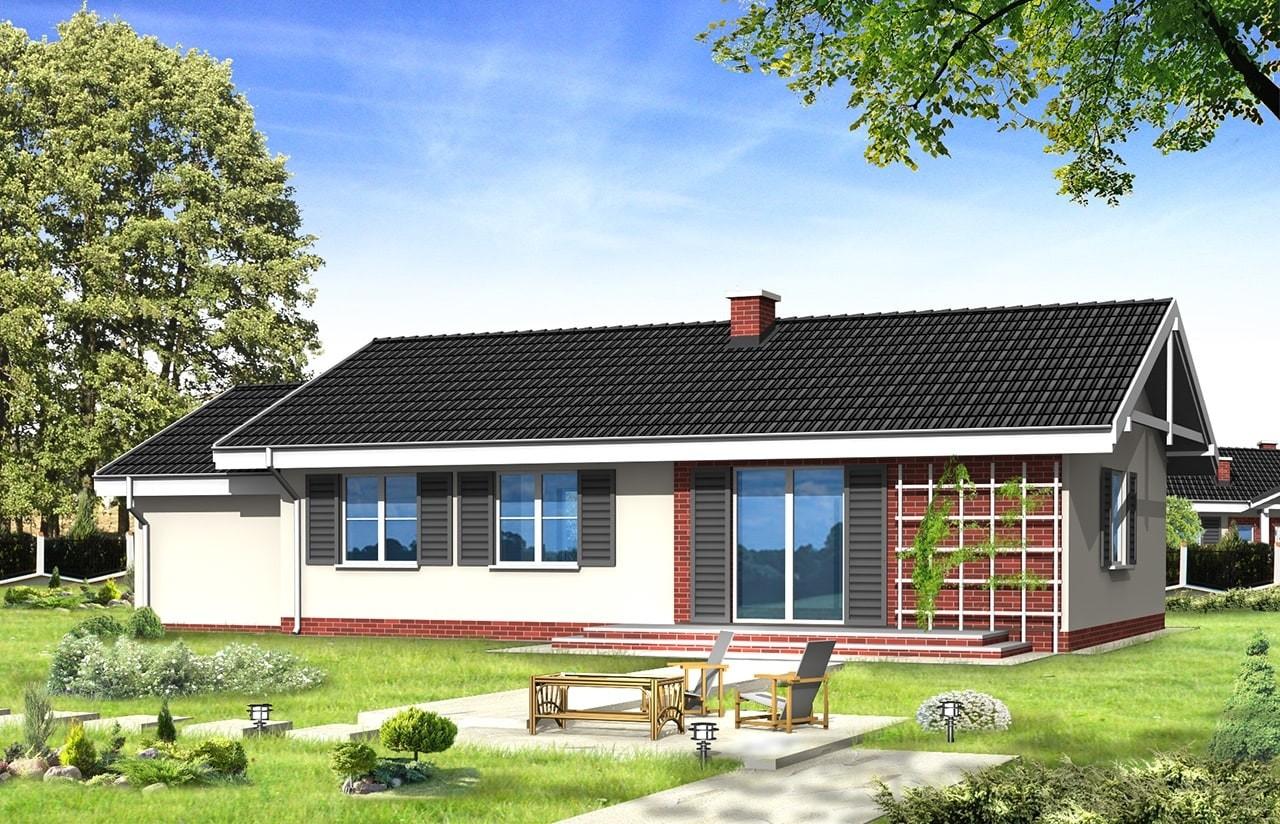 Projekt domu Słoneczny z garażem - wizualizacja tylna
