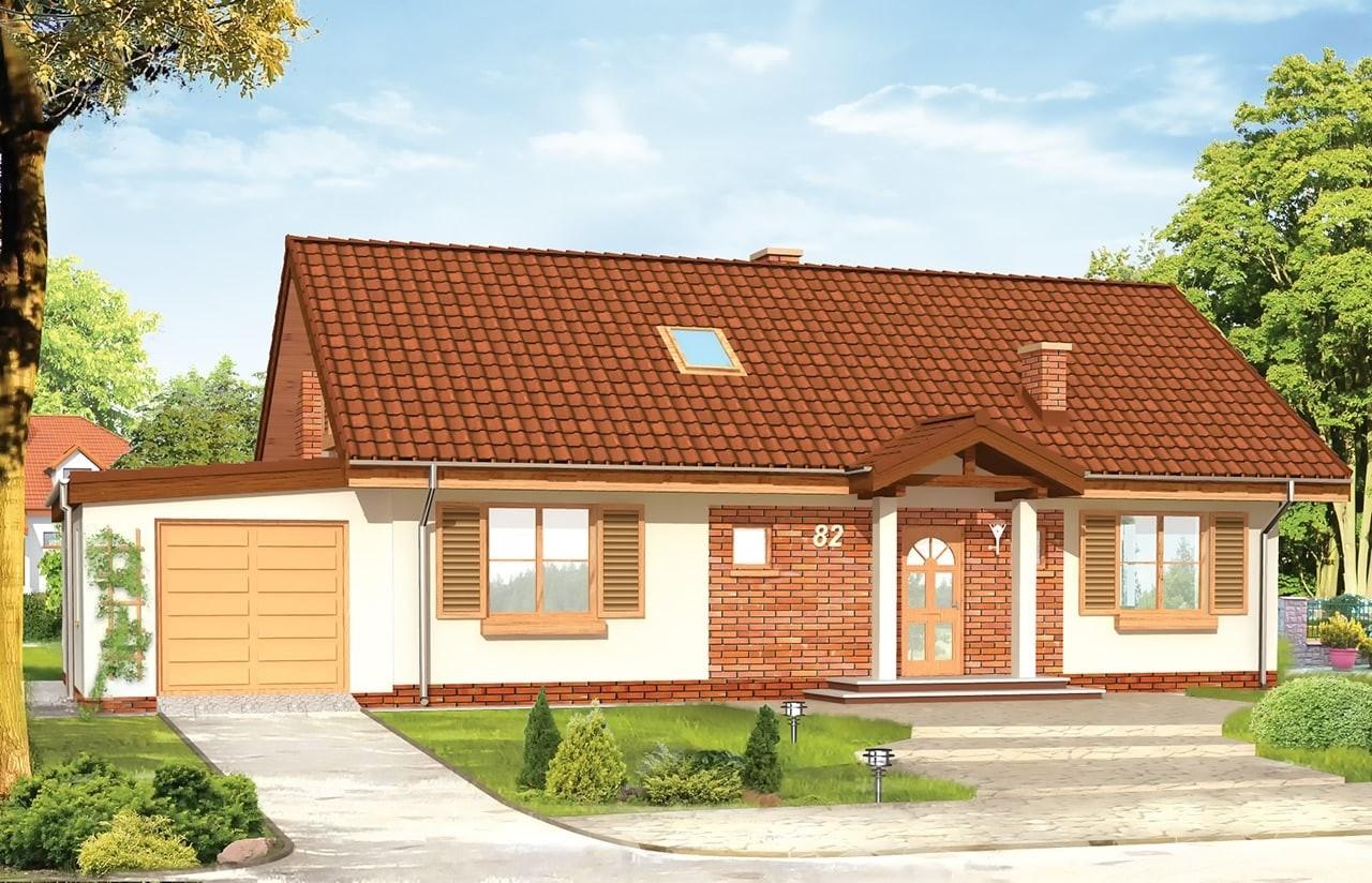 Projekt domu Słoneczny z poddaszem - wizualizacja frontowa