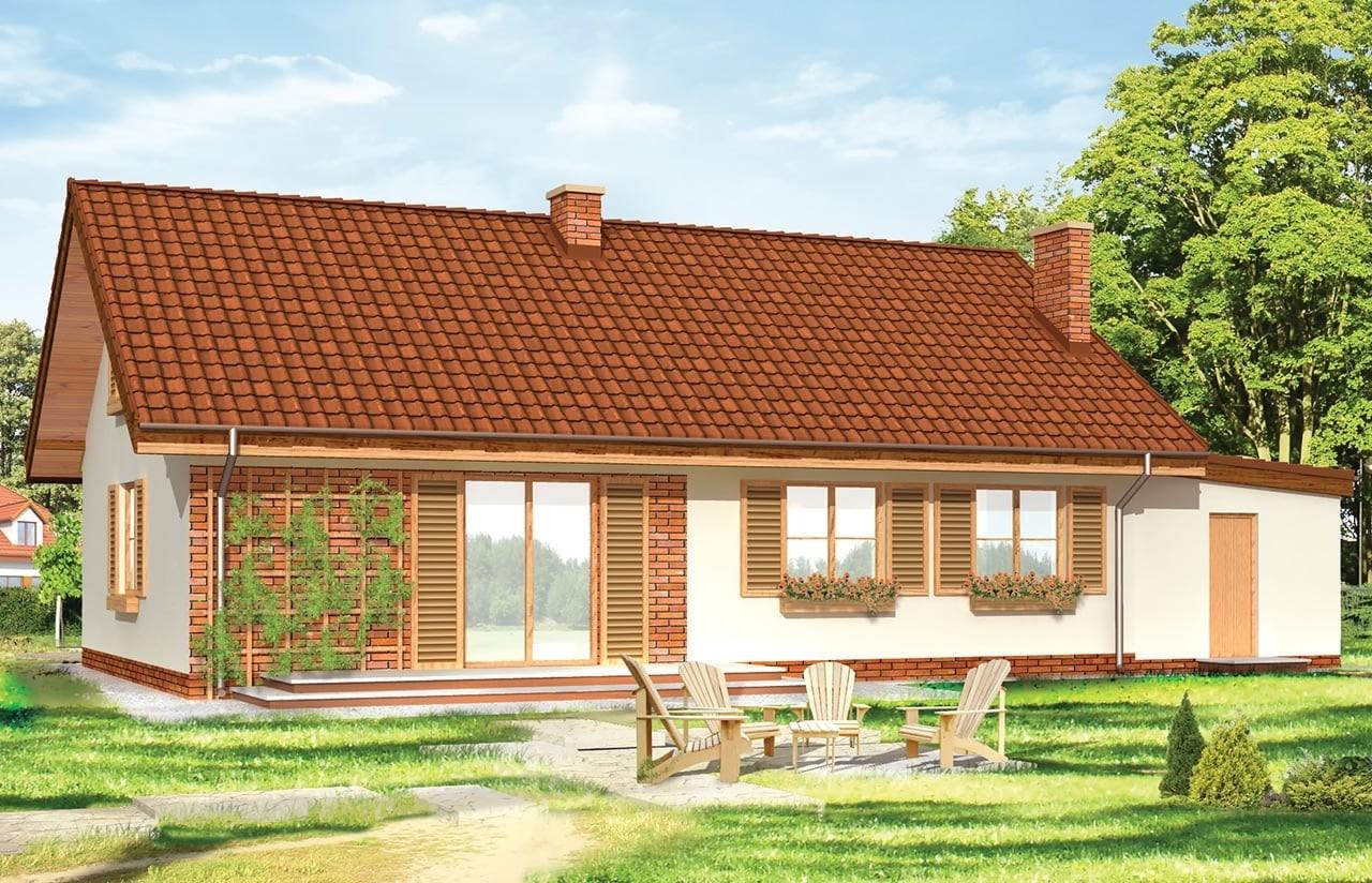 Projekt domu Słoneczny z poddaszem - wizualizacja tylna