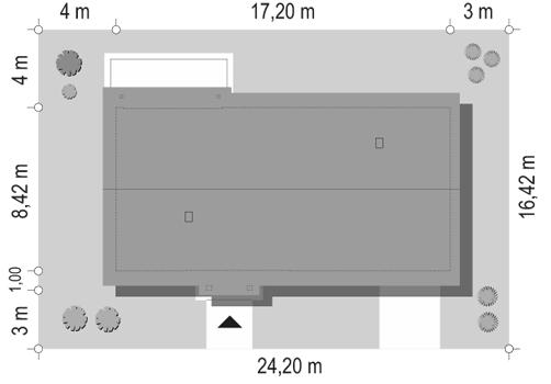 Słoneczny z garażem 2 - sytuacja odbicie lustrzane