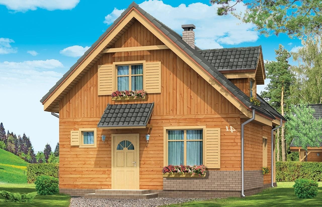 Projekt domu Słowik - wizualizacja frontowa odbicie lustrzane