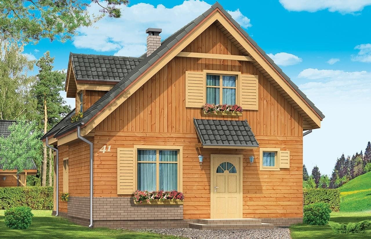 Projekt domu Słowik - wizualizacja frontowa