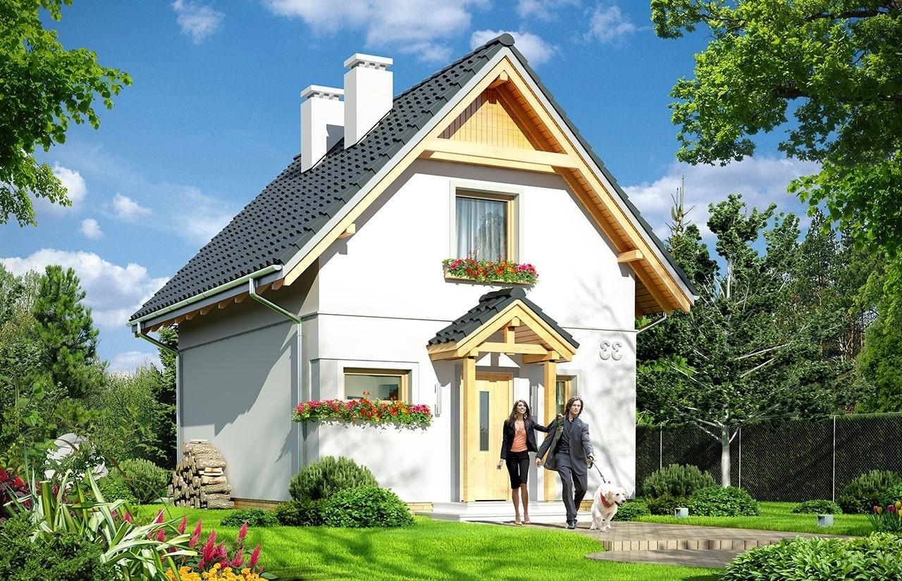 Projekt domu Smyk 2 - wizualizacja frontowa odbicie lustrzane