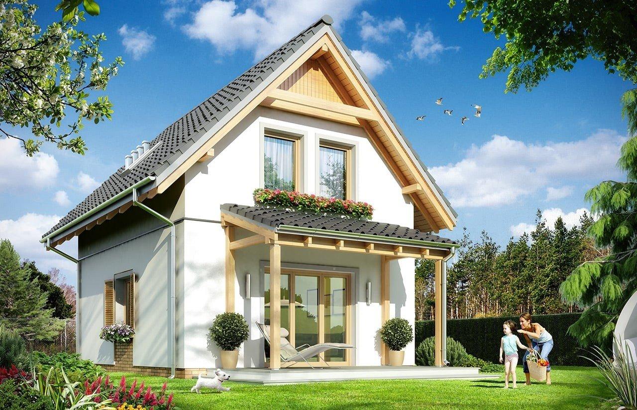 Projekt domu Smyk 2 - wizualizacja tylna odbicie lustrzane