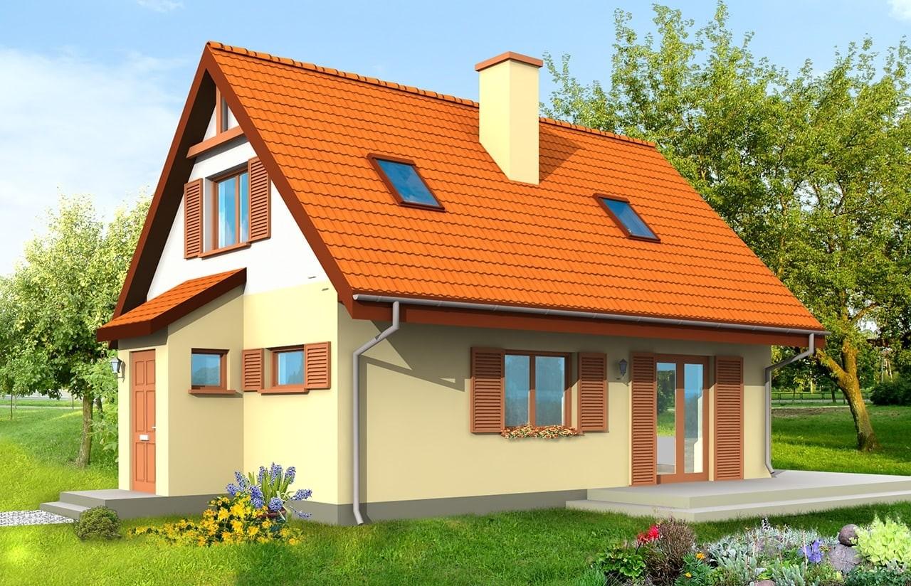 Projekt domu Smyk - wizualizacja tylna odbicie lustrzane