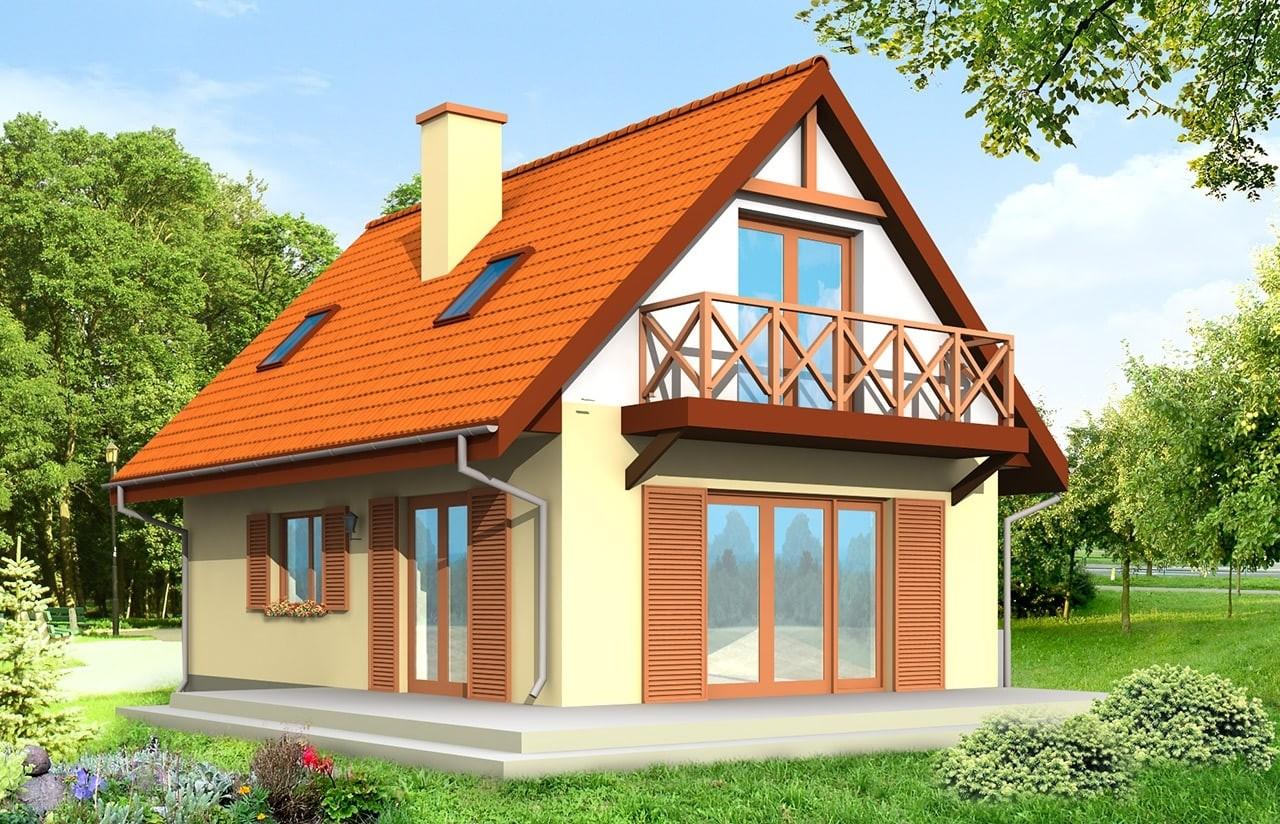 Projekt domu Smyk - wizualizacja frontowa odbicie lustrzane