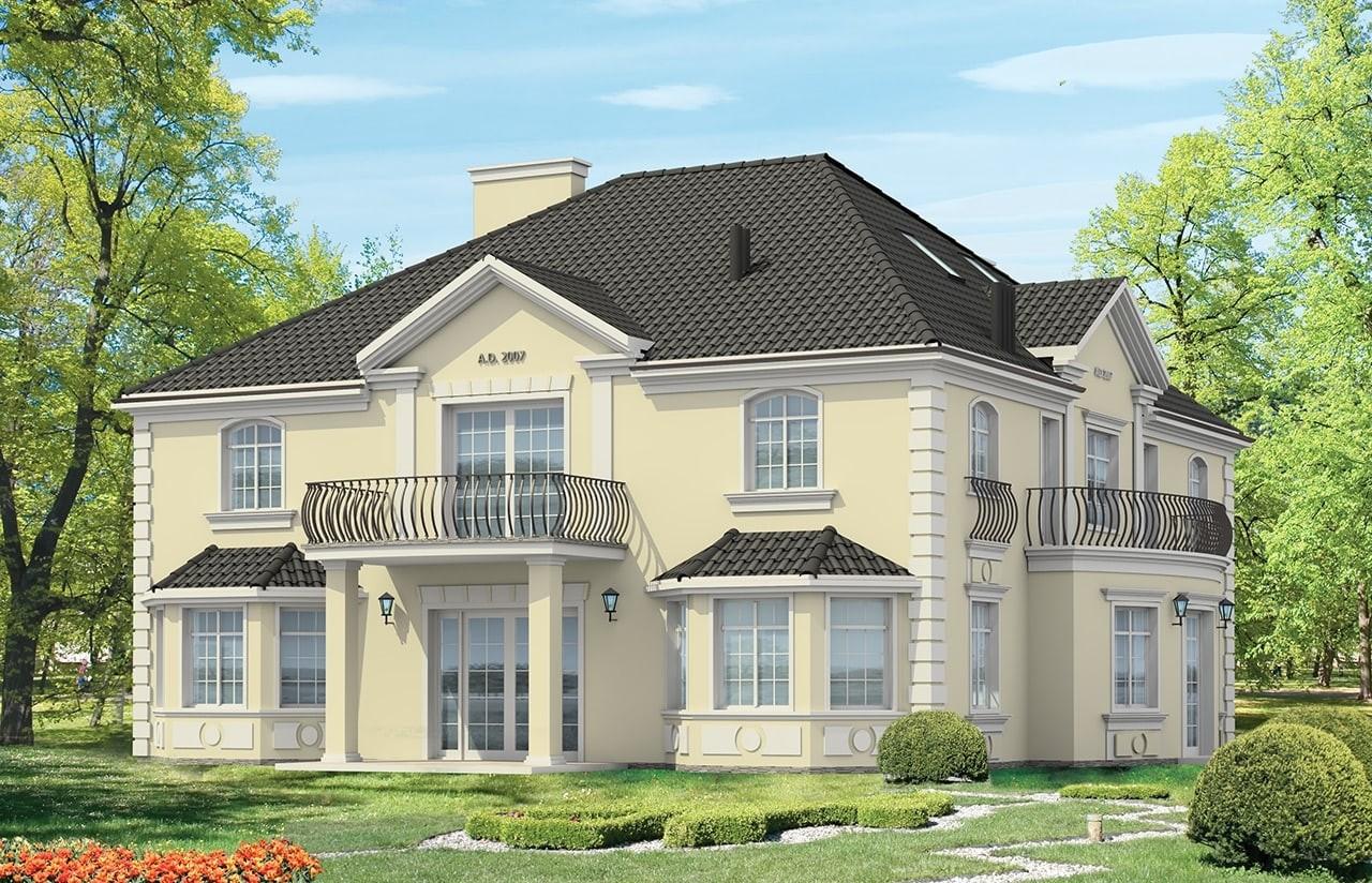 Projekt domu Sokół - wizualizacja tylna