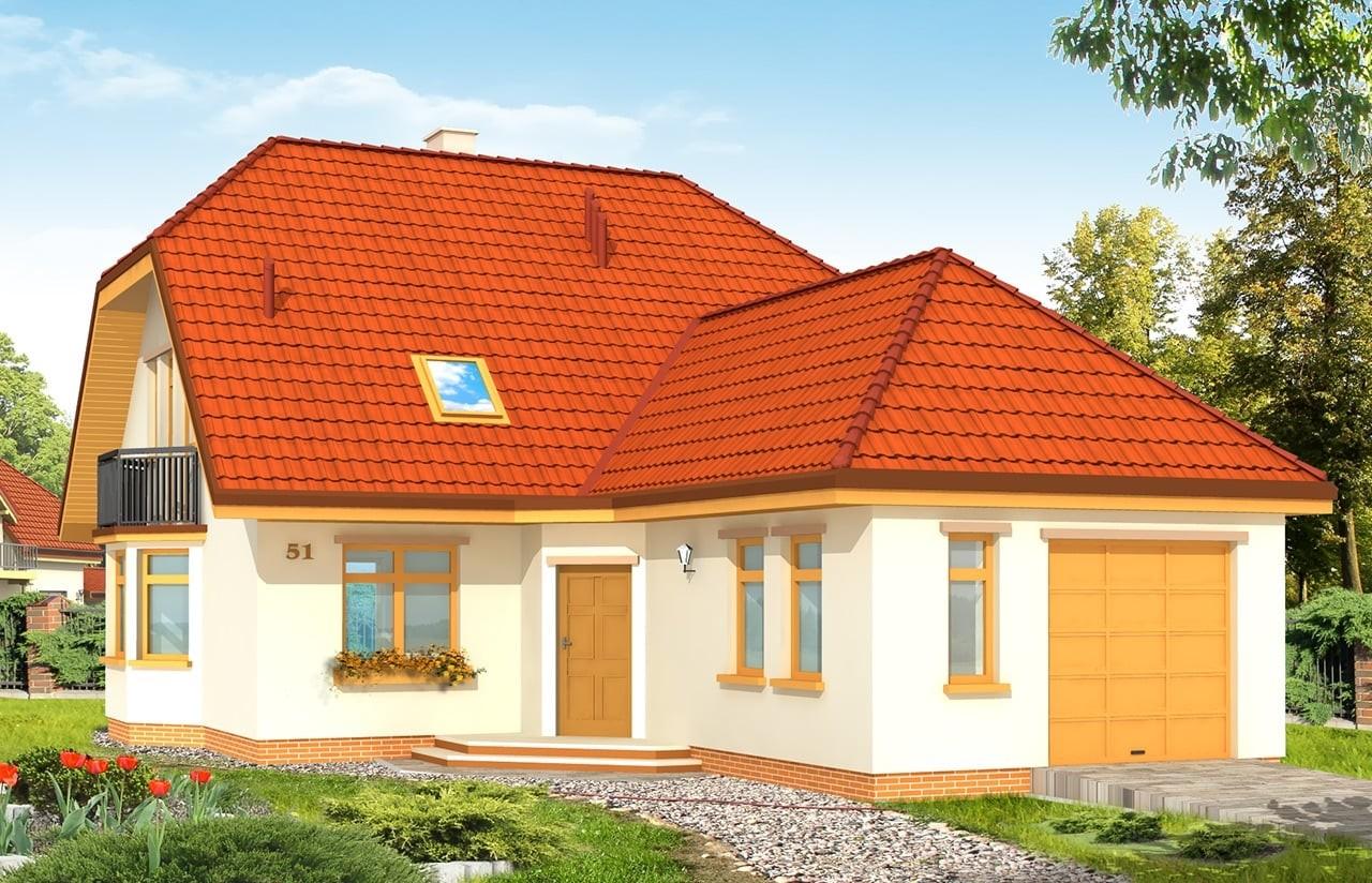 Projekt domu Solidny - wizualizacja frontowa