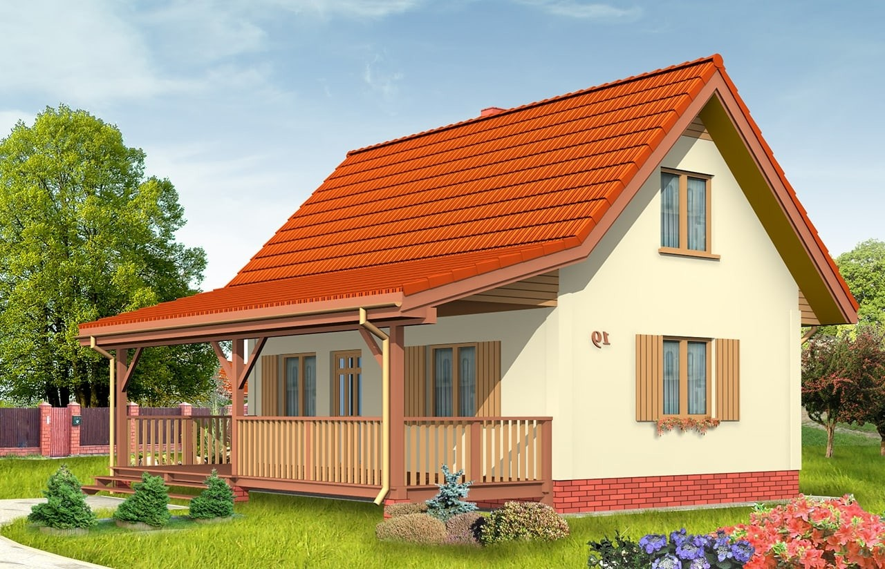 Projekt domu Sosenka 2 - wizualizacja frontowa odbicie lustrzane