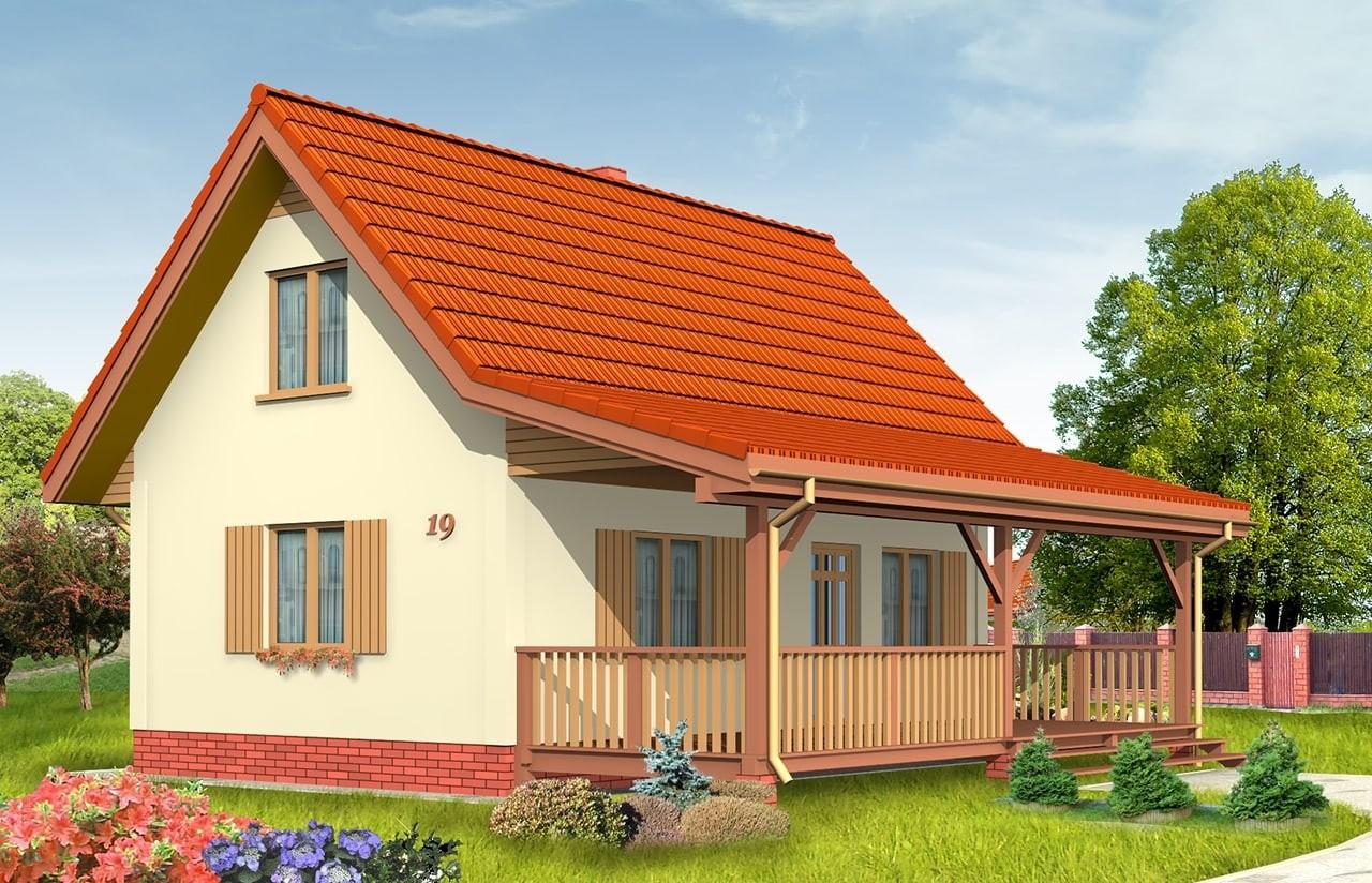 Projekt domu Sosenka 2 - wizualizacja frontowa