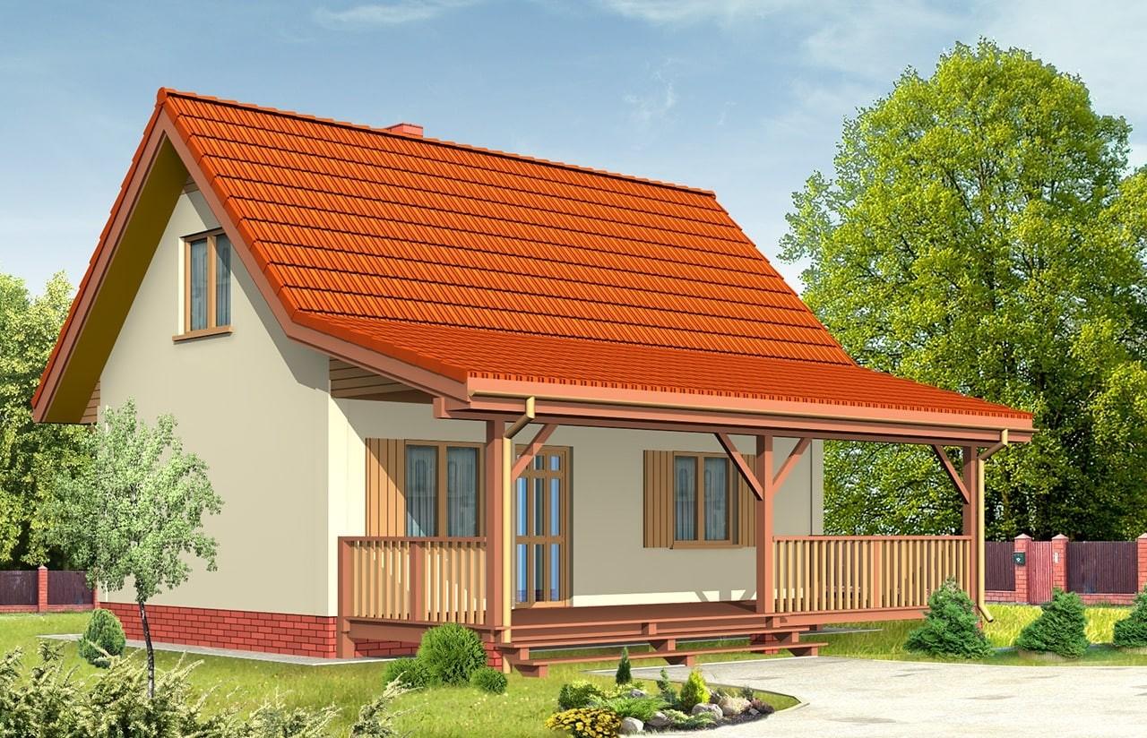 Projekt domu Sosenka 2 - wizualizacja tylna odbicie lustrzane