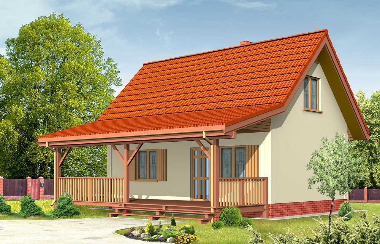 Projekt domu Sosenka 2 - wizualizacja tylna