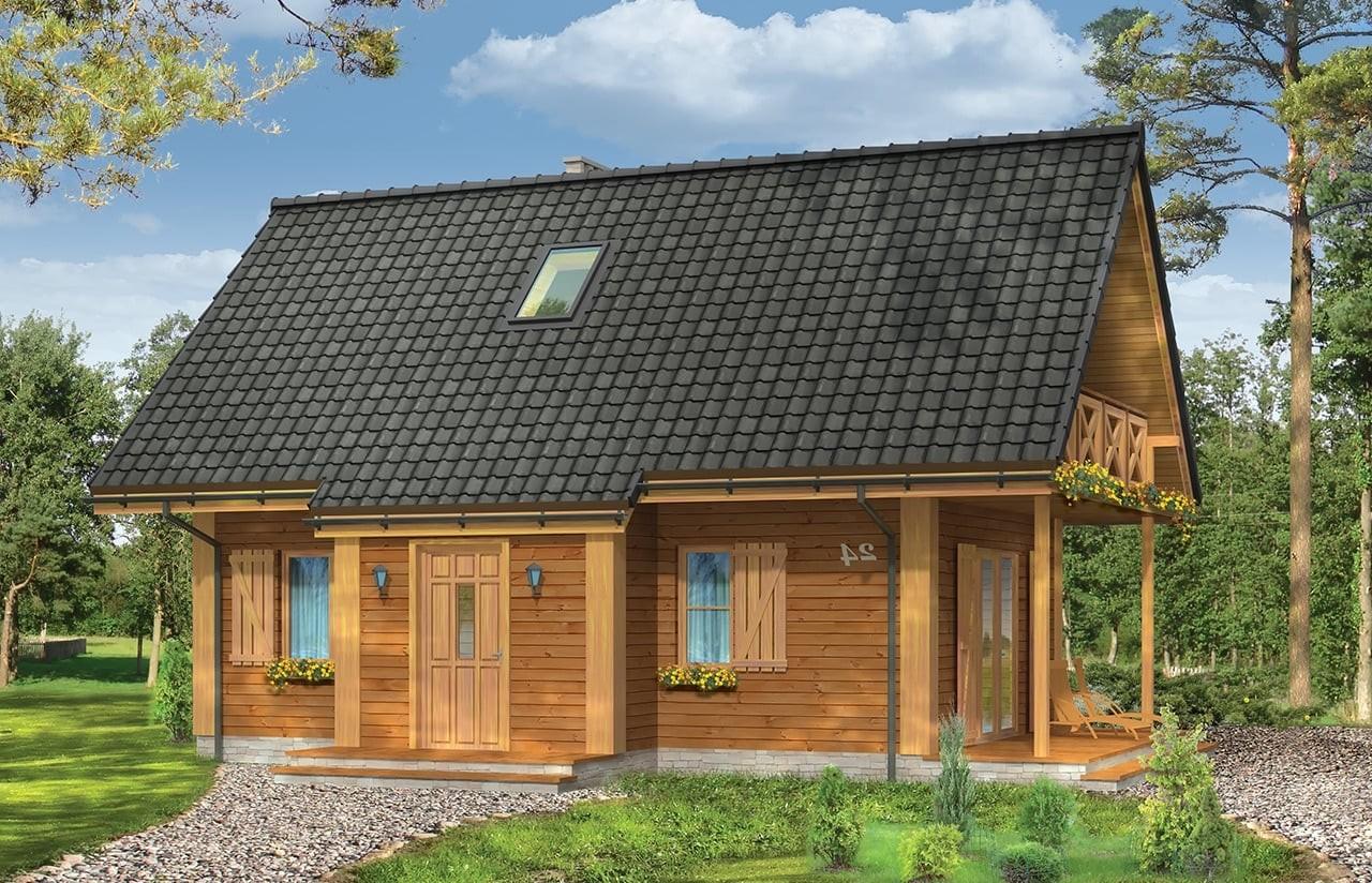 Projekt domu Sosenka 4 - wizualizacja frontowa odbicie lustrzane