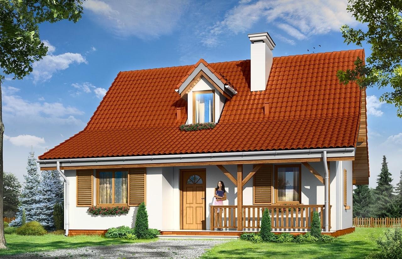 Projekt domu Sosenka 5 - wizualizacja frontowa odbicie lustrzane