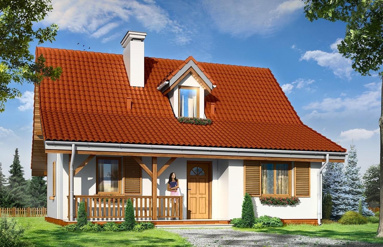 Projekt domu Sosenka 5 - wizualizacja frontowa