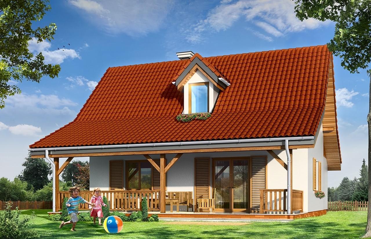 Projekt domu Sosenka 5 - wizualizacja tylna odbicie lustrzane