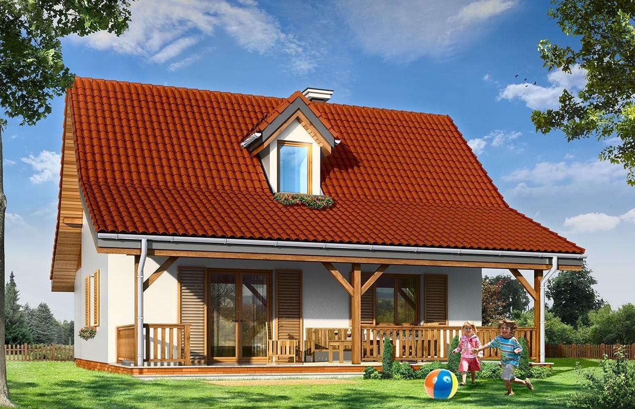 Projekt domu Sosenka 5 - wizualizacja tylna