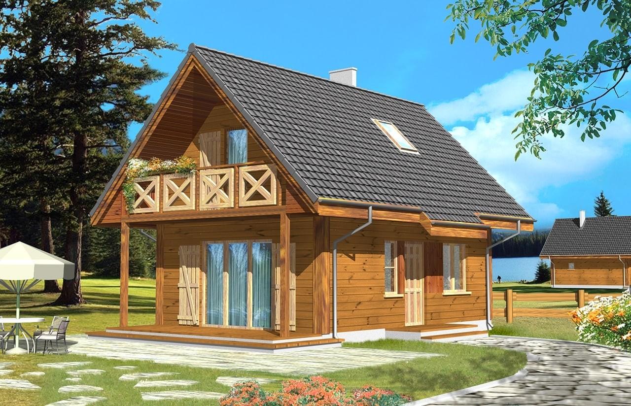 Projekt domu Sosenka drewniana - wizualizacja frontowa odbicie lustrzane