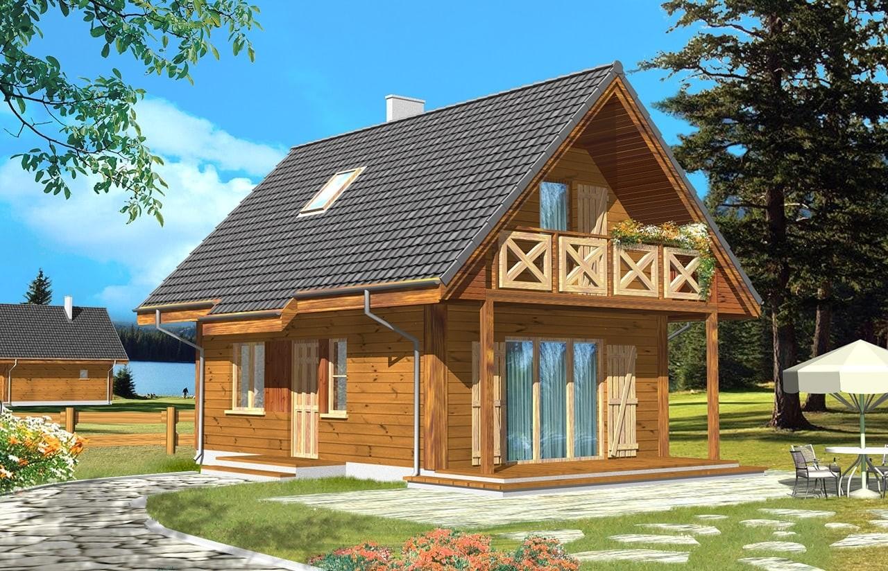 Projekt domu Sosenka drewniana - wizualizacja frontowa