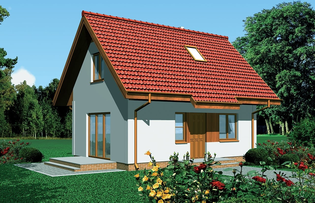 Projekt domu Sosenka - wizualizacja frontowa odbicie lustrzane