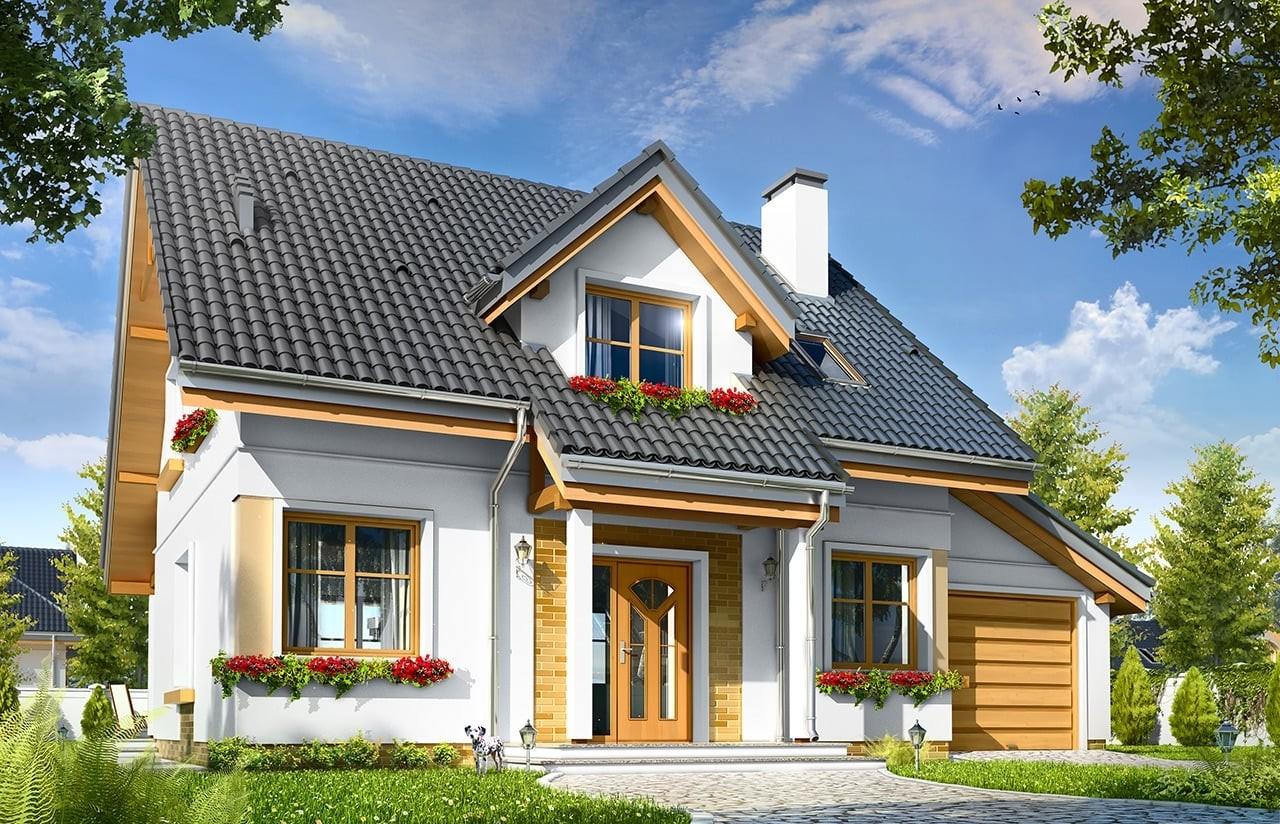 Projekt domu Spokojny - wizualizacja frontowa odbicie lustrzane