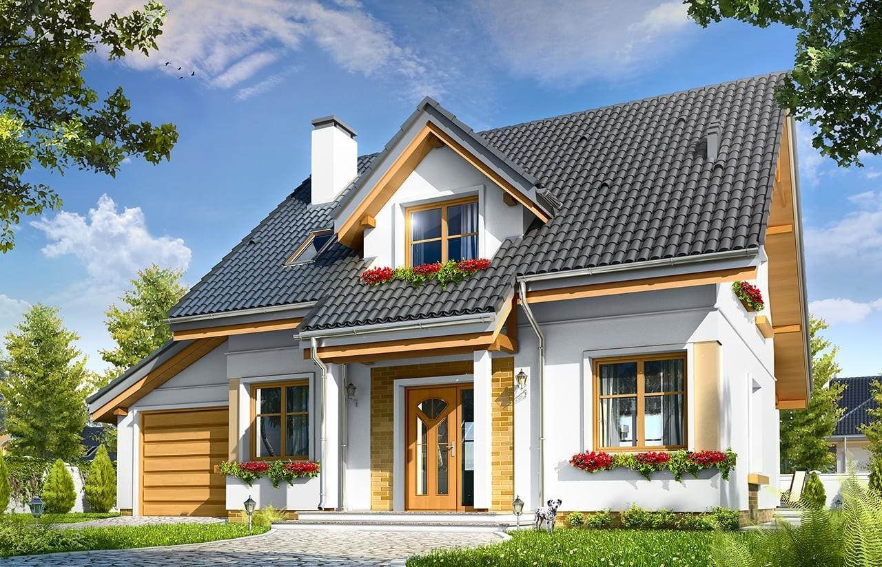 Projekt domu Spokojny - wizualizacja frontowa